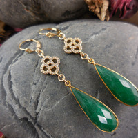 Gold-Filled Emerald Gemstone Earrings