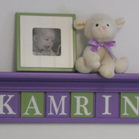 "Baby Girl Name Sign Nursery Decor 30"" Lilac Shelf with 8 Letter Wooden Tiles Painted Purple and Green - KAMRIN with Butterflies"