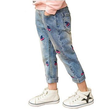 Girl jeans children pant spring summer Stretch waist Strawberry embroidery pant kids trousers