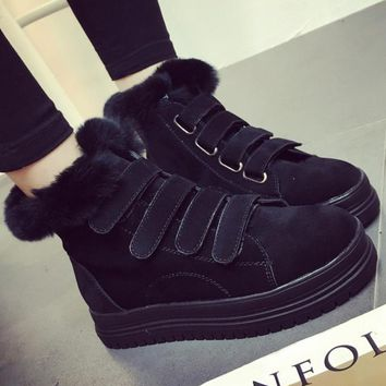 Thick winter designer shoes ugg boots bottom anti-slip Velcro thickening Martin boots cotton shoes Black