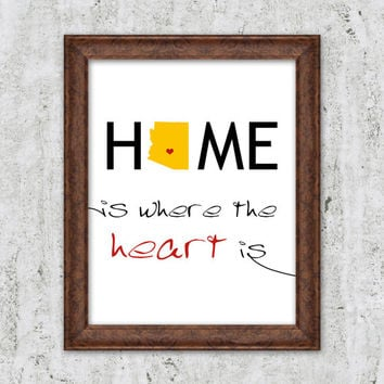 Home Is Where The Heart Is Print Personalized Map Print Art Heart Arizona State Print Art Home State Newlyweds Customizable Wedding gift