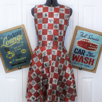 Fallout Vault Boy Dress - Made to Order in YOUR size - Nuka Cola Wasteland - Handmade by Skellum Threads