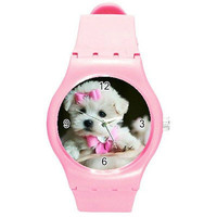 White Teacup Puppy on a Pink Plastic Sports Watch... NEW Great for Kids