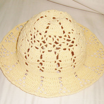 Summer Women Hat Yellow Summer Hat Woman Crochet Hat Wide Brim