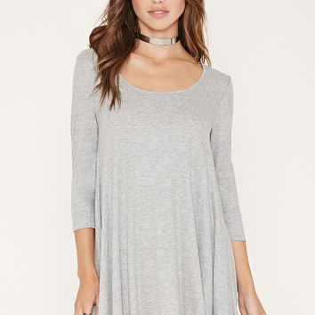 Ribbed Knit Trapeze Dress