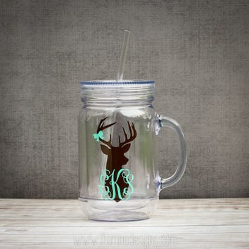 Deer with Bow Monogram Mason Jar Acrylic Cup, Tumbler, or Wine Glass. Personalized Custom Deer Monogram Tumbler - Many Cup Styles!