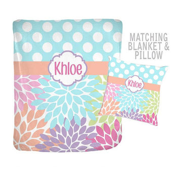 Flower Baby Blanket - Flower Polka Dots - Throw Pillow - Blanket Pillow Set -Girl MONOGRAM-Personalized Nursery Bedding-Girl Shower Gift