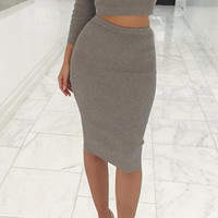 Autumn Women Sexy Bandage Dress 2 Piece Set  = 5738525953