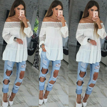 Lace Patchwork Tops Strapless Long Sleeve T-shirts [9496580164]