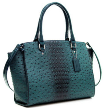 Dasein(R) Faux Ostrich Leather Winged Satchel with Patent Trim