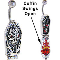 Red Eye SKULL FLAMING COFFIN Dangle Belly Ring | Body Candy Body Jewelry