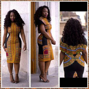 Summer Women Pencil Dresses Fashion African Print Dresses O-Neck Short