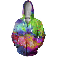 Neon Galaxy Zip-Up Hoodie