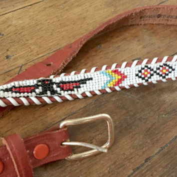 Native American Beaded Belt S XS / Aztec Thunderbird Peyote Stitch Tooled Leather | Navajo Indian Belt / Vtg Hippie Chic Boho Belt / 60s 70s