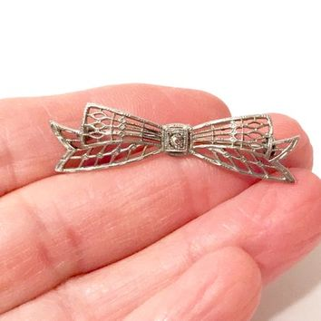 Sterling Filigree Bow Brooch  Edwardian Art Deco  Clear Rhinestone Center  Figural Ribbon Bow  Petite Sterling Silver Pin Vintage 1920s