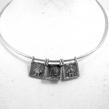 Silpada Necklace. Boy, Girl, Heart Slide Charms. Sterling Silver Collar Charm Necklace. Retired Silpada Jewelry