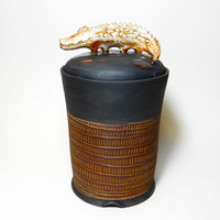 Stoneware Kitchen Canister, lidded jar, Alligator jar, keepsake urn, stash jar, ceramic jar with lid, tea caddy, Crocodile jar