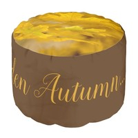 Yellow autumn maple leaves. Add you text or name. Pouf