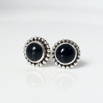 Black Onyx Stud Earrings, Boho Stud Earrings, Silver Black Onyx Earrings, Black Onyx jewelry, Boho Jewelry, gemstone earrings, gift for her