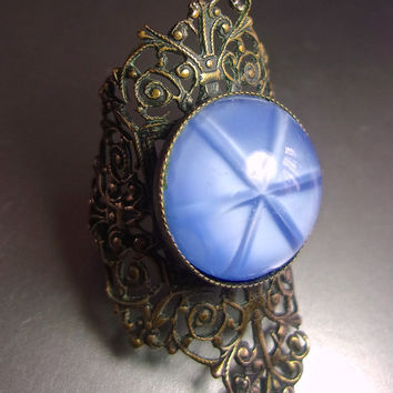 Blue Glass Sapphire Star Filigree Brass Ring, Art Nouveau Adjustable, Vintage