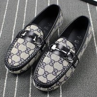 GUCCI new summer fashion casual British single shoes round bean shoes flat scoop shoes denim shoes female