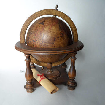 Old World Globe & Scroll, Wood and Parchment 1960's Antique Reproduction by Olde World Globes, Made in Italy