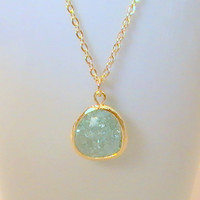 Erinite necklace, Gold Framed Glass, Aqua Necklace, Teal, Aquamarine, Soft Green, Bridesmaid Gift, Crystal Pendant by Crystalshadow on etsy