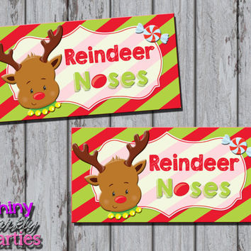 REINDEER NOSES Treat Bag TOPPERS - Christmas Treat Bag Toppers - Reindeer Treat Bag Toppers - Holiday Bag Toppers - Diy Christmas school kid