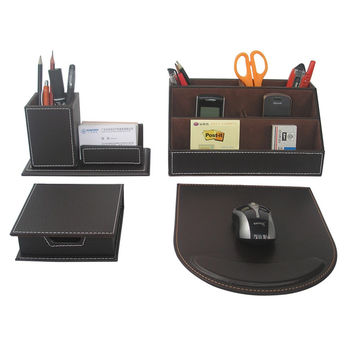 Ever Perfect 4PCS/Set Leather Office Desk Stationery Accessories Organizer Pen Holder Box Mouse Pad Name Card Stand T41