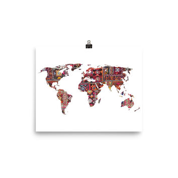 Indian Fabric Map Of Earth Poster Meditation Yoga Grunge Hippie