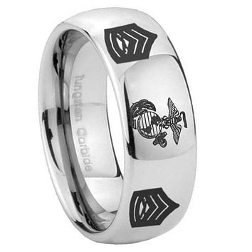 10mm Marine Army Sergeant Mirror Dome Tungsten Carbide Men's Wedding Ring