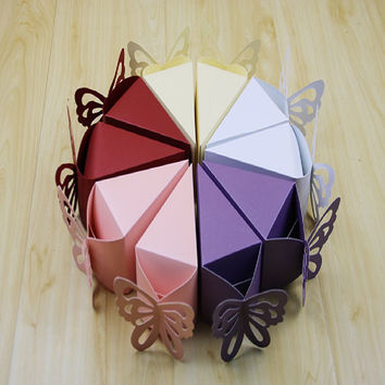 2016 10 pcs Triangle butterfly paper candy chocolate gift box for wedding birthday tea party favor