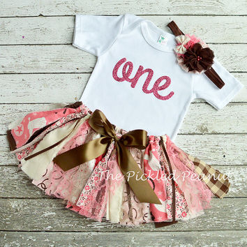 Pink Brown Cowgirl Birthday Girls Tutu Shabby Chic Fabric Tutu Rag Tie Baby Tutu 1st First birthday outfit cake smash Cowgirl Skirt Dress