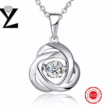 Vintage 925 Sterling Silver Natural Stone Pendant Chokers Necklace with Dancing CZ Diamond Pendant Gold Plated for Women Jewelry