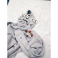 GUCCI : Champion flower rose print sweater grey hoodie pullover Grey And Headband