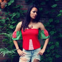 Bohemian Top Off Shoulder Shirt Size XS - M Red Tube Boho Hippie Women's Upcycled Clothing Recycled Eco Friendly OOAK