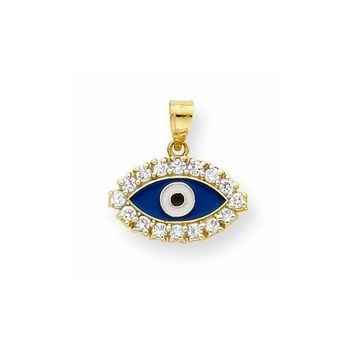 10k Yellow Gold CZ & Enamel Eye Pendant