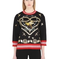 Indie Designs Gucci Inspired Laminated Heart Jersey Sweatshirt