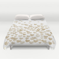 Gold Glitter Hearts - White Background for Valentines Day, Love, Bokeh, for trendy girls cell phone Duvet Cover by CharlotteWinter