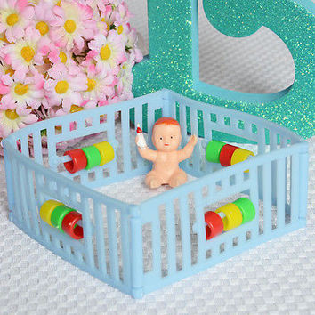 Vintage Playpen Baby with Bottle Birthday Cake Topper Baby Shower Decoration USA