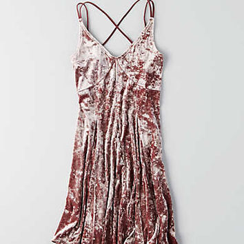 AEO Crushed Velvet Slip Dress, Pink