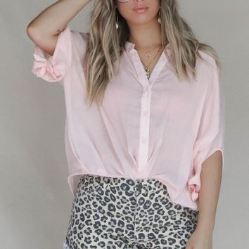 Happy Place Light Pink V Neck Blouse