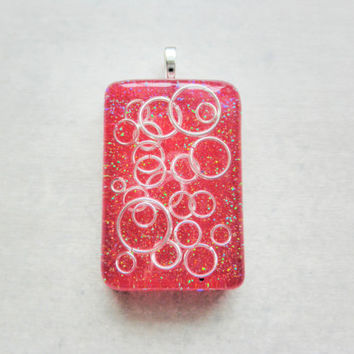 Red and Silver Geometric Pendant with Your Choice of Length Clear Jelly Cord