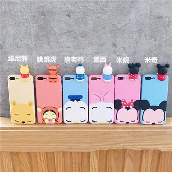 3D Cute Mickey Minnie Mouse Pooh Bear soft phone Case For iphone 6 7 6s 8 Plus X 5s Cover for samsung galaxy S7 edge S8 note 8