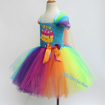 Shopkins Birthday Cake Dress. Tutu Dress. Birthday Party Dress. Rainbow Birthday Cake. Inspired Tutu Dress with Fully Lined Top