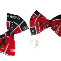 Texas Tech Hair Bows, TTU, Red Raiders, Football Hair Bows, College Bows, Womens bows, Fabric Hairbows, Texas Tech Fabric, Red Raider Fabric