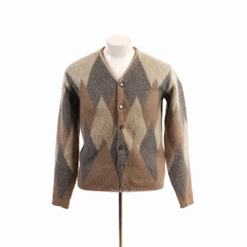 Vintage 60s MEN'S CARDIGAN / 1960s Shaggy ARGYLE Thick Mohair Wool Sweater S - M