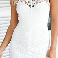 White Sweatheart Neckline Floral Sheer Mesh Bodycon Dress