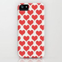 HEART YOU - RED HEART PATTERN iPhone Case by Allyson Johnson
