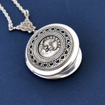 Sun Moon Locket, Sun Moon Necklace, Photo Locket Necklace, Silver Locket, Antique Style Locket Necklace
